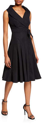 Finley Johanna Sleeveless Portrait-Collar Side-Tie Dress