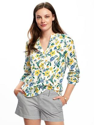Printed Linen-Blend Blouse for Women $26.94 thestylecure.com