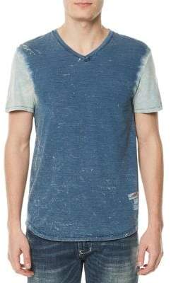 Buffalo David Bitton Todrin Distressed Colorblock V-Neck Tee