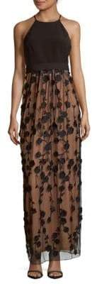 Embroidered Halter Neck Dress