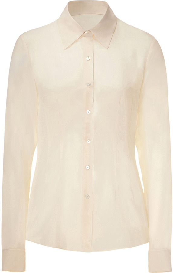 Theory Cream sheer silk top