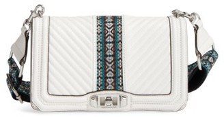 Rebecca Minkoff Jacquard Love Leather Crossbody Bag With Guitar Strap - White $325 thestylecure.com
