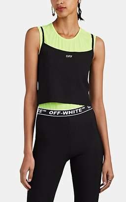 Off-White Women's Logo-Print Tech-Jersey Crop Tank - Black