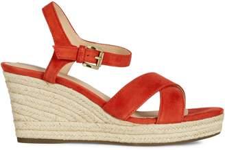 Geox Soleil Suede Wedge Sandals