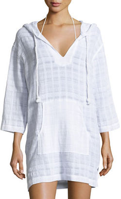 Seafolly Tonal Plaid Cotton Hooded Coverup Tunic $112 thestylecure.com