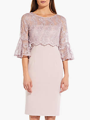 Adrianna Papell Beaded Lace Overlay Dress, Dusky Rose