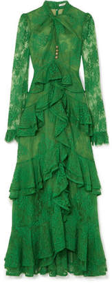 Erdem Kimber Ruffled Cotton-blend Lace Gown - Green
