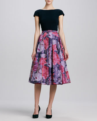 Theia Floral Full-Skirt Combo Cocktail Dress