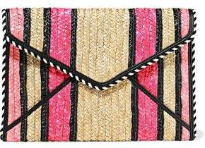 Rebecca Minkoff Leo Striped Woven Straw Envelope Clutch