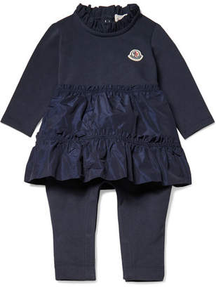 Moncler Months 3 - 12 Ruffled Satin-shell And Jersey Onesie