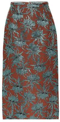 Rochas Oncidium floral pencil skirt