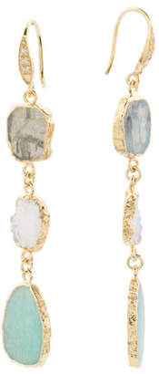 Made In India Sterling Silver Amazonite And Drusy Earrings