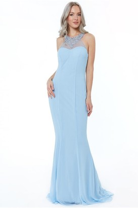 Goddiva Powderblue High Neck Embellished Maxi Dress