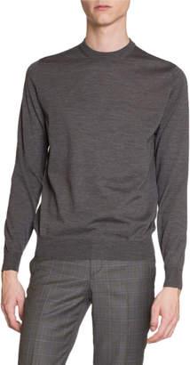Balenciaga Men's Crewneck Sweater w/ Logo Intarsia