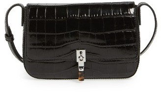 Elizabeth And James Cynnie Flap Croc Embossed Crossbody Bag - Black $295 thestylecure.com