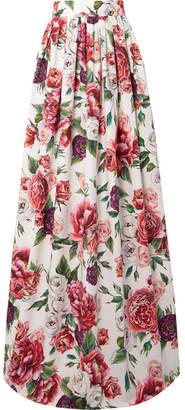 Dolce & Gabbana Floral-print Cotton-poplin Maxi Skirt - White