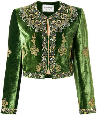 Etro embellished velvet cropped jacket