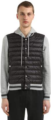 Moncler Nylon & Cotton Hooded Down Jacket