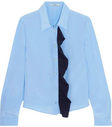 Prada - Ruffled Silk Crepe De Chine Shirt - Light blue