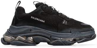 Balenciaga black Triple S bubble sneakers