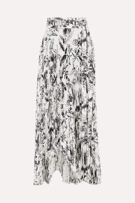 A.W.A.K.E. Mode Doric Asymmetric Pleated Printed Faille Wrap Skirt - Black