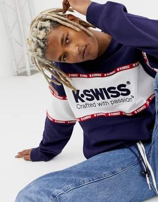 K-Swiss Modesto Oversized Paneled Sweatshirt In Navy