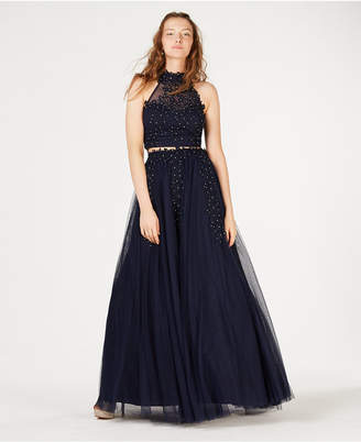 Say Yes to the Prom Juniors' 2-Pc. Rhinestone Applique Gown