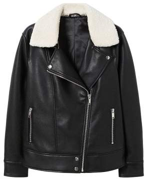 Violeta BY MANGO Shearling collar jacket