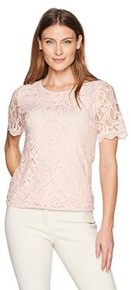 Adrianna Papell Women's Short Sleeve lace Blouse