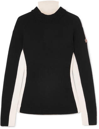 Moncler Ciclista Layered Wool-blend, Wool And Shell Turtleneck Sweater - Black
