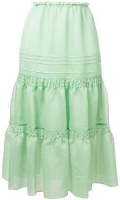See by Chloe ruffled midi skirt
