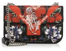 Alexander McQueenAlexander McQueen Floral-Print Insignia Leather Chain Satchel