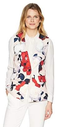 Nine West Women's Printed Crepe 1 Btn Vest