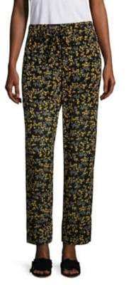 Ganni Women's Marceau Georgette Printed Pants - Black - Size 42 (10)
