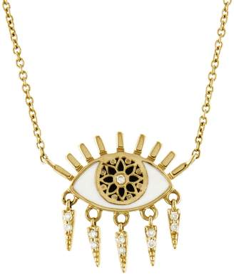 Sydney Evan Kaleidoscope Evil Eye Fringe Necklace - Yellow Gold