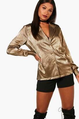 boohoo Alina Pleated Metallic Plunge Shirt
