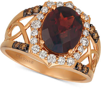 LeVian Le Vian Rhodolite Garnet (3-1/5 ct. t.w.) & Diamond (1/2 ct. t.w.) Ring in 14k Rose Gold