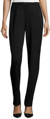 Caroline Rose Ponte Slim Pants, Black, Petite
