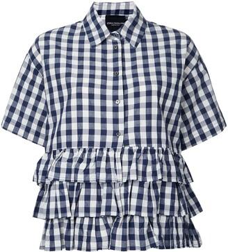 Cavallini Erika checked ruffled shirt