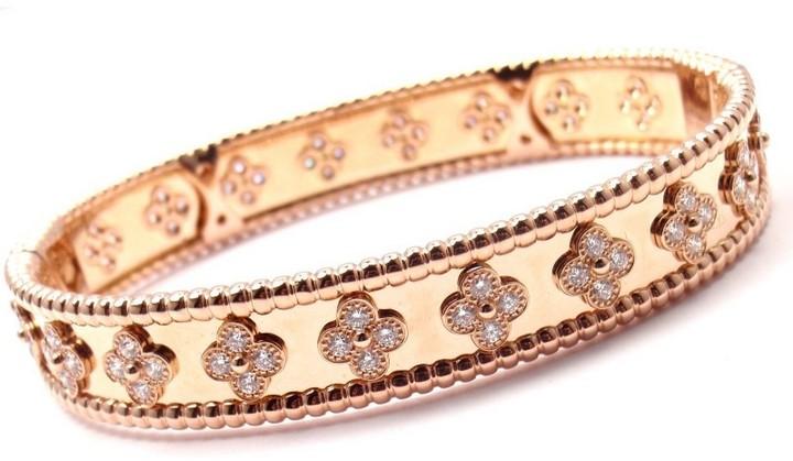 Van Cleef & ArpelsVan Cleef & Arpels 18K Rose Gold Perlee Diamond Clover Bangle Bracelet