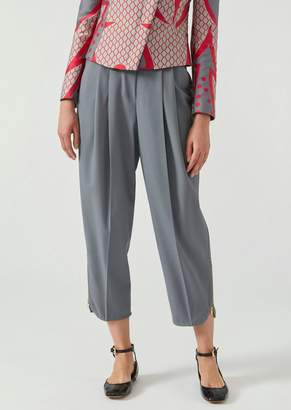 Emporio Armani Stretch Wool Trousers With Darts And Zipped Ankle Cuffs