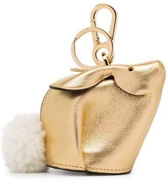 Loewe Metallic Bunny Leather Shearling Tail Bag Charm