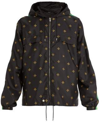 Gucci Bee And Star Jacquard Shell Hooded Jacket - Mens - Black Multi