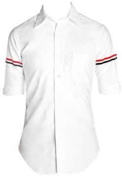 Thom Browne Classic-Fit Stripe Trim Short-Sleeve Button-Down Shirt