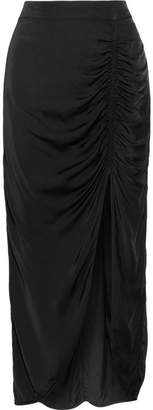Raquel Allegra Gathered Satin-jersey Midi Skirt - Black
