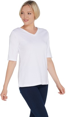 Denim & Co. Essentials V-Neck Elbow-Sleeve Rib Knit Top