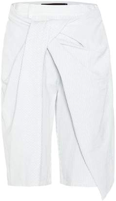 Sies Marjan Draped striped cotton shorts