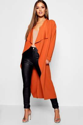 boohoo Petite Eve Waterfall Crepe Duster Coat