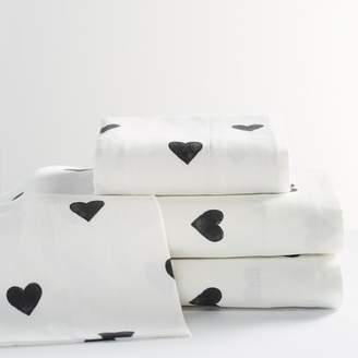 Pottery Barn Teen The Emily &amp Meritt Heart Flannel Sheet Set, Queen, Black/Ivory