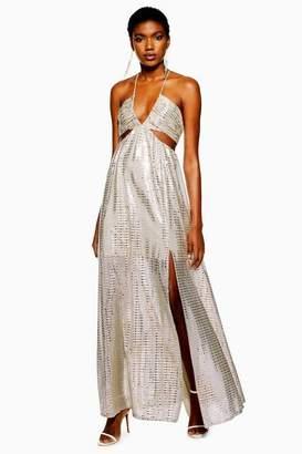 Topshop Womens Glitter Cut-Out Maxi Dress